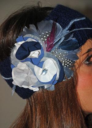 turbante en lana azul